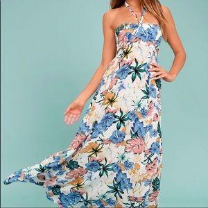 My Island Ivory Floral Print Halter Maxi Dress S